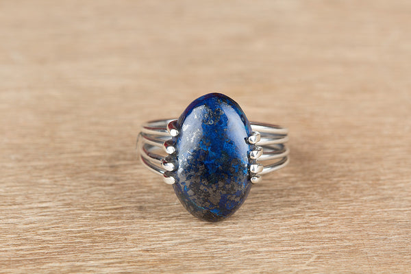 Unique Azurite Malachite Gemstone Sterling Silver Ring,