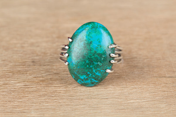 Unique Chrysocolla Gemstone Sterling Silver Ring,