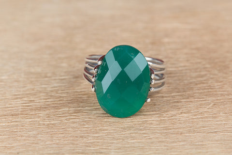 Unique Green Onyx Gemstone Sterling Silver Ring,
