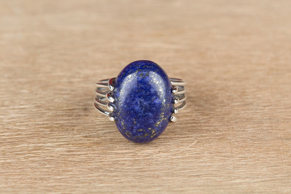 Unique Lapis Lazuli Gemstone Sterling Silver Ring,