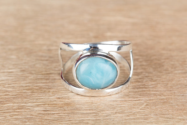 Larimar Ring 925 Silver Dainty Ring Dominican Ring Rare Ring Vintage Ring Casual Ring Boho Band Ring Blue Love Ring Stylish Ring Anniversary Ring Bridesmaid Ring Gift