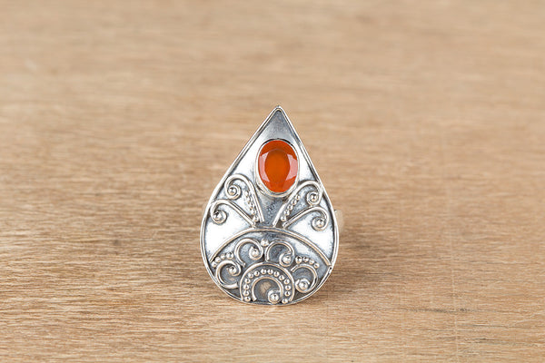 Stunning Silver Faceted Carnelian Gemstone Ring