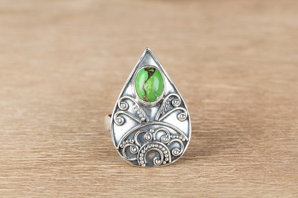 Awesome Green Turquoise Gemstone Sterling Silver Ring,