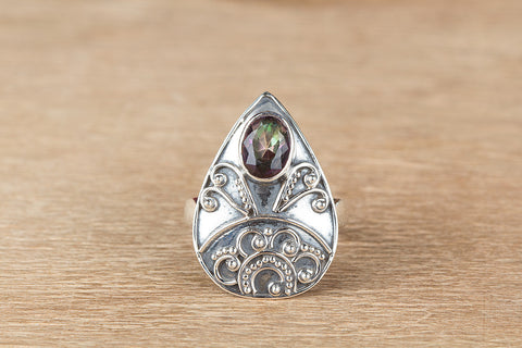 Amazing Mystic Topaz Gemstone Sterling Silver Ring