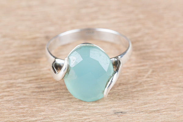 Wonderful Aqua Chalcedony Gemstone Sterling Silver Ring,