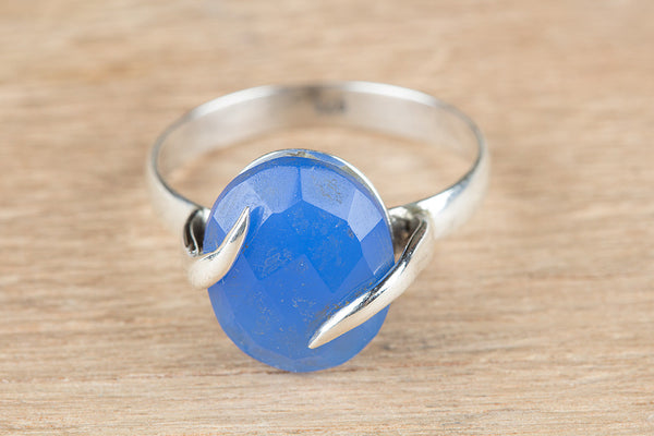 Charming Blue Chalcedony Gemstone Silver Ring,