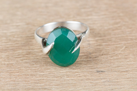 Fantastic Faceted Green Onyx Gemstone Sterling Silver Ring,