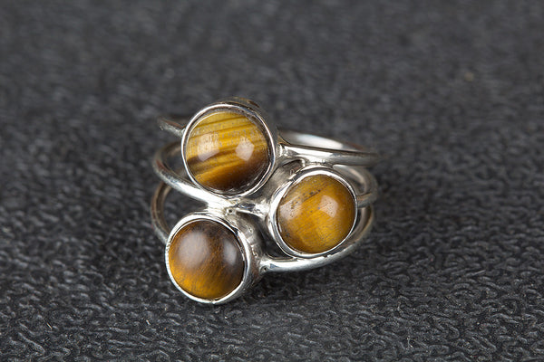 Awesome Tiger Eye Gemstone Sterling Silver Ring,