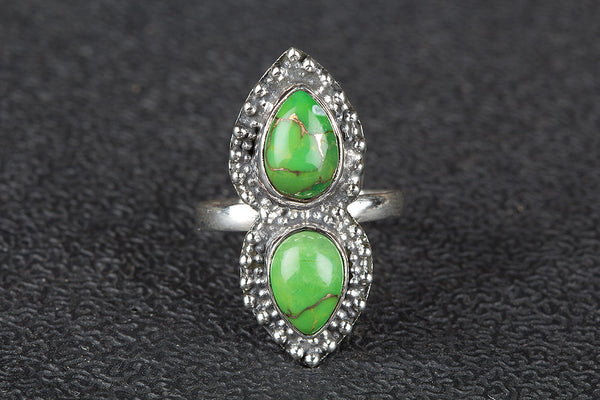 Stunning Green Turquoise Gemstone Sterling Silver Ring,