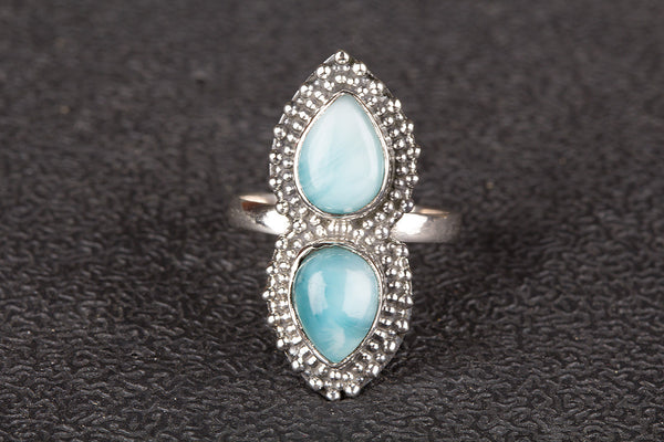 Beautiful Larimar Gemstone Sterling Silver Ring,