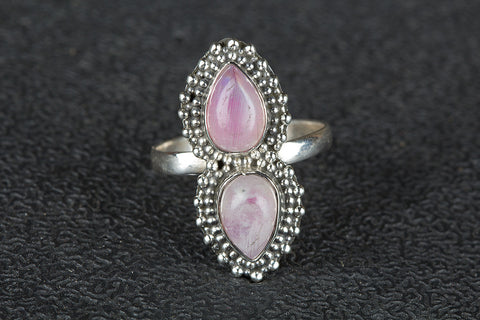 Awesome Pink Rainbow Moonstone Gemstone Sterling Silver Ring,