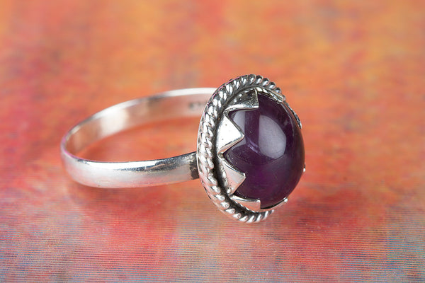 Lovely Amethyst Gemstone Sterling Silver Ring,