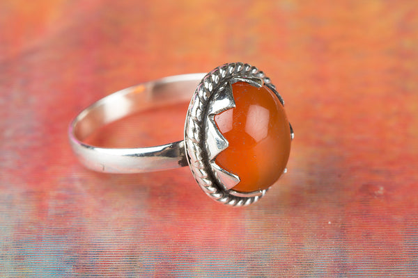 Wow Carnelian Gemstone Sterling Silver Ring