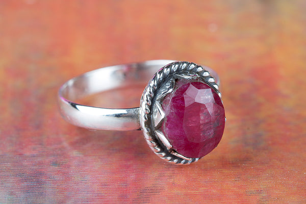 Lovely Ruby Gemstone Ring, 925 Sterling Silver, Vintage Ring Jewelry, Handmade Ring, Jewelry Addict, Mermaid Gift, Birthstone Ring, Gift Her