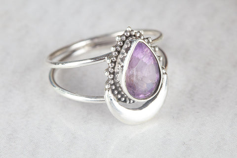 Amazing Faceted Amethyst Gemstone Silver Ring,