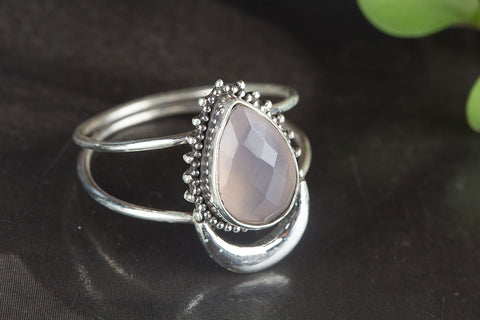 Amazing Faceted Rose Quartz Gemstone Silver Ring,