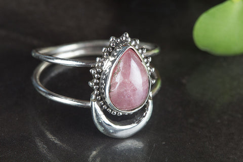 Amazing Rhodochrosite Gemstone Silver Ring,