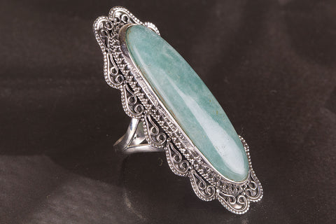 Amazing Amazonite Gemstone Sterling Silver Ring,