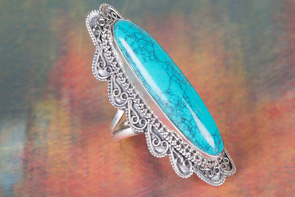Turquoise Ring 925 Silver Long Ring Attractive Ring Modern Designer Eye catch Ring latest Ring Healing Ring Gypsy Ring Statement Ring Silver Jewelry Engagement Ring Gift Her
