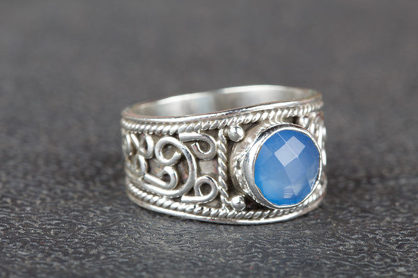 Faceted Blue Chalcedony Gemstone Silver Ring