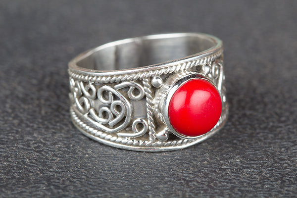 Coral Ring 925 Silver Wide Band Ring Attractive Ring Yoga Ring Bohemian Ring Classic Design Ring Statement Ring Elegant Ring Yoga Ring Wedding Ring Gift Her.
