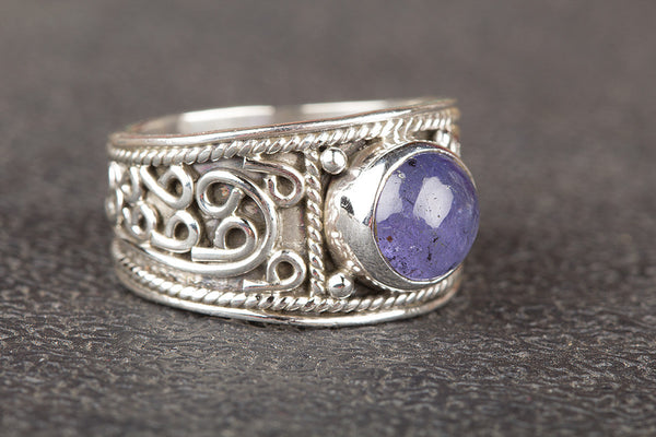 Faceted Tanzanite Gemstone Sterling Silver Ring