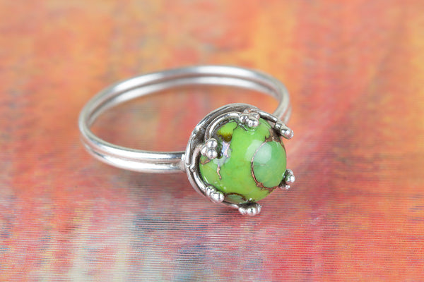 Green Turquoise Gemstone Sterling Silver Ring