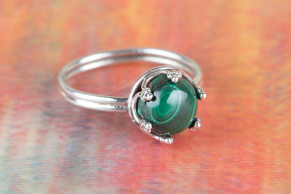 Faceted Malachite Gemstone Sterling Silver Ring