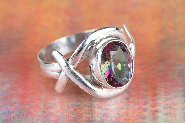 Mystic Topaz Gemstone Sterling Silver Ring