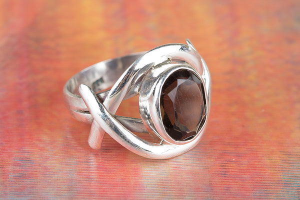 Faceted Smoky Quartz Gemstone Sterling Silver Ring