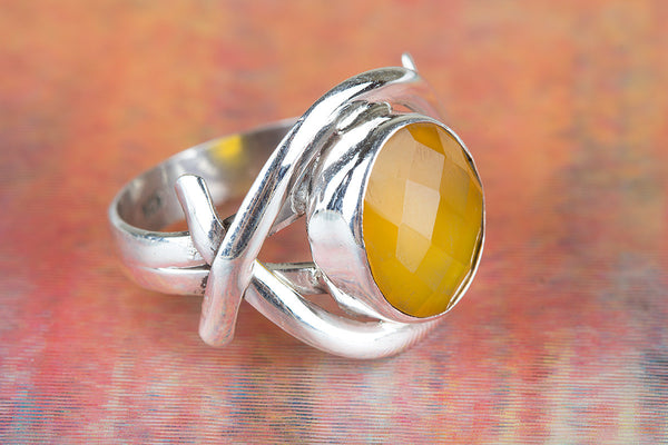 Faceted Yellow Chalcedony Gemstone Sterling Silver Ring