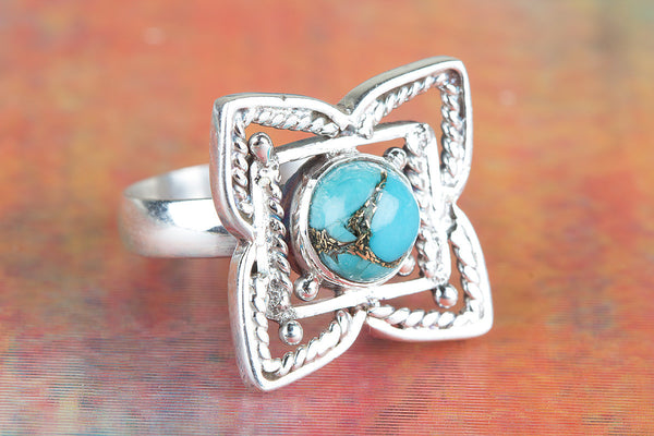 Flower Shaped Blue Copper Turquoise Gemstone Silver Ring