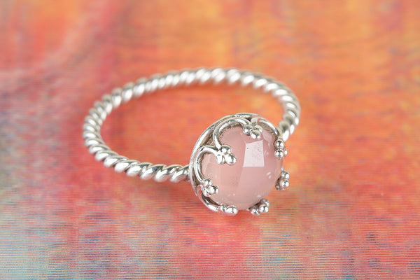 Faceted Rose Quartz Gemstone Sterling Silver Ring
