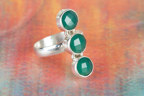 Faceted Green Onyx Gemstone Sterling Silver Ring