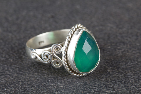Faceted Green Onyx Gemstone Sterling Silver Ring,