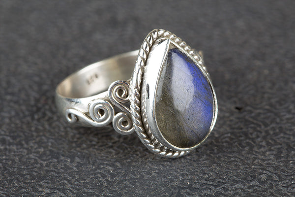 Labradorite Ring, 925 Sterling SIlver, Delicate Ring, Antique Artisan Ring, Pretty Ring, Healing Ring, Latest Design Ring, Rare Ring, Pear Shape Ring, Bohemian Ring, Engagement Ring, Gift Wife