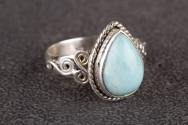 Larimar Ring 925 Silver Blue Dominican Ring Stylish Ring Alternative Ring Pretty Ring Pear Shape Ring Stylish Ring Attrative Ring Modern Designer Ring Exclusive Ring Bride Ring Classic Ring Natural Ring Engagement Ring Gift Her