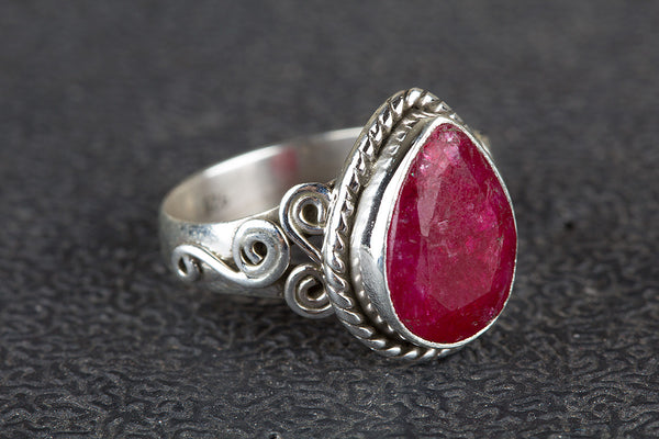 Ruby ring, 925 Sterling Silver, Antique ring, Engagement ring, Birthstone ring, Wedding Wear ring, Gift for her ring