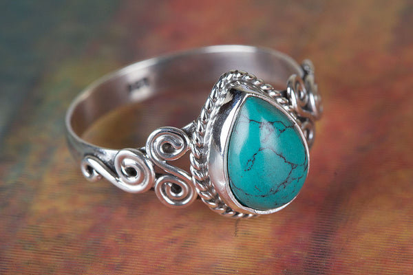 Turquoise Ring, 925 Sterling Silver, Dainty Ring, Antique Ring, Artisan Ring, Anniversary Ring, Propose Ring, unique ring, Gift Her.