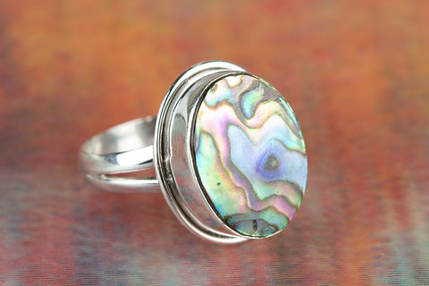 Abalone Shell Gemstone Silver Ring