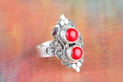 Amazing Coral Gemstone Silver Ring