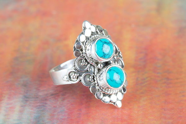 Wow Turquoise Gemstone Sterling Silver Ring