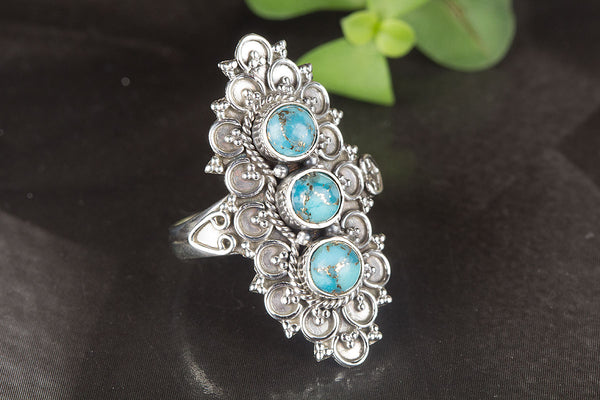 Wonderful Blue Copper Turquoise Gemstone Sterling Silver Ring,