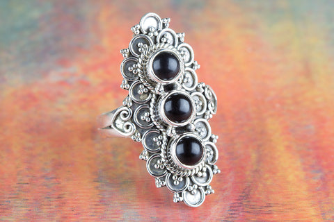 Black Onxy Ring 925 Silver Three Stone Ring Long Ring December Birthstone Ring Statement Ring Special Occasion Ring Chunky Ring Black Ring Spiritual Ring Anniversary Ring Alternative Ring Gift Her