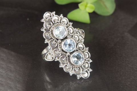 Wonderful Blue Topaz Gemstone Sterling Silver Ring,