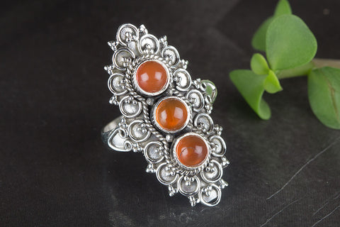 Stunning Carnelian Gemstone Sterling Silver Ring,
