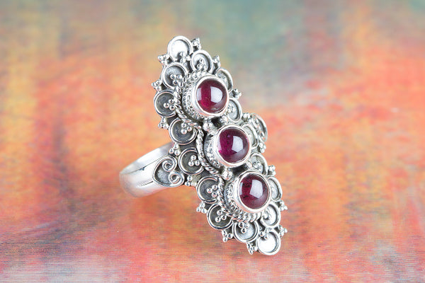 Garnet Gemstone Pure Sterling Silver Ring,