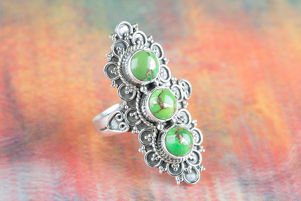 Green Turquoise Gemstone Pure Sterling Silver Ring