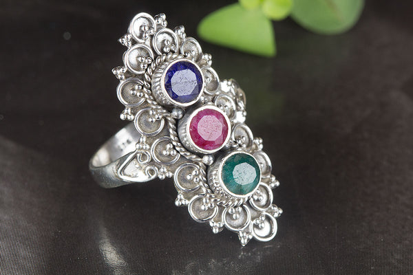 Amazing Multi-stone Gemstone Sterling Silver Ring,