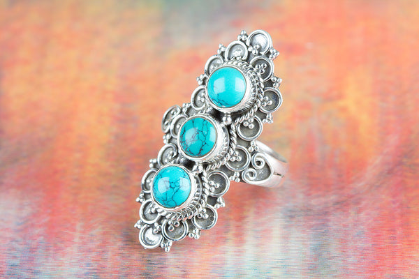 Turquoise Ring, 925 Sterling Silver, Statement Ring,  Design Ring, Victorian Ring, Gypsy Ring, Three Stone  Ring, Stylish Long  Ring, Fine Jewelry, Gift